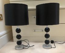 1 x Pair of Contemporary Black And Chrome Table Lamps With Black Shades - NO VAT ON THE HAMMER -