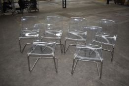 6 x Ikea Tobias Transparent Acrylic Dining Chairs With Chrome Bases - Ref: GTI294 WH4 - RRP £360 -
