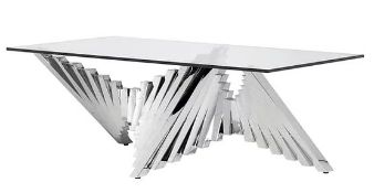 1 x Rectangular Glass Coffee Table With Abstract Chrome Base - RRP £995 - NO VAT ON THE HAMMER!