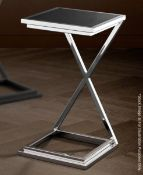 1 x EICHHOLTZ Cross NickelSide Table With A Smoked Glass Top- Original RRP £260.00