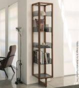 1 x PORADA 'Myria' 2-Metre Tall Designer Bookcase In Solid Canaletta Walnut - Original RRP £4,316
