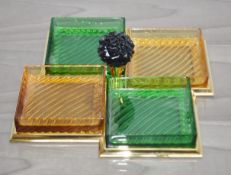 1 x BALDI 'Home Jewels'Italian Hand-crafted Artisan Glass 4-Dish Serving Trays In Orange And