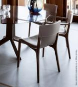 A Pair Of POLTRONA FRAU 'Isadora' Chairs With Arms Upholstered In Beige Saddle Leather - RRP £4,200