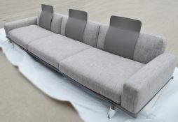 1 x POLTRONA FRAU Large 3.5 Metre Italian 3-Seat Sofa With Saddle Leather Back Rests - RRP £10,680