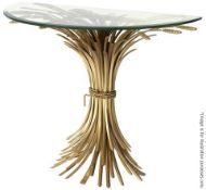 1 x EICHHOLTZ 'Bonheur' Glass-topped Iron Console Table With An AntiqueGold Finish - RRP £1,585