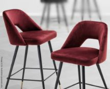 A Pair Of EICHHOLTZ 'Avorio' Luxury Counter Stools - Upholstered In An Opulent Roche Bordeaux (Red
