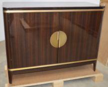 1 x FRATO 'Bilbao' Luxury Designer 1.2 Metre 2-Door Sideboard Cabinet In BROWN - Original RRP £9,022