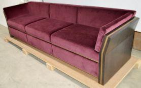 1 x FRATO 'Udaipur' 3 Seater Sofa With Custom Burgundy Velvet Upholstery - Original RRP £8,040