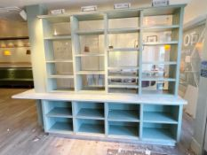 1 x Bespoke Display Island / Partition With Display Shelves, Olive Green Finish, Marble Worktop