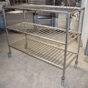 1 x Grundy Stainless Steel Mobile Veg Shelf Unit - Unused - Size H88 x W120 x D60 cms - Ref