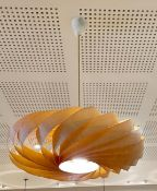 3 x Suspended Bent Wood Ceiling Light Pendants - 65cm Diameter - CL666 - Location: West Bridgford,