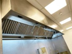 1 x Large Commercial Kitchen Extractor Canopy With Filters and Fire Suppression Fixtures - Stainless