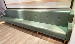 1 x Contemporary 15ft Seating Bench With Armrests Upholstered With Button Back Leather in Green -