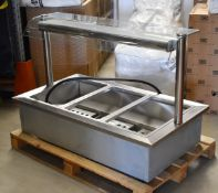 1 x Grundy Drop In Baine Marie Unit With Overhead Warming Light and Control Panel - Model 20003