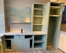 1 x Bespoke Storage Unit Painted in Light Green - Features Space For an Upright Drinks Cabinet,