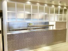 1 x Large Glazed Divider Panel With White Frame and Ribbed Privacy Glass Panels - Approx 15ft in