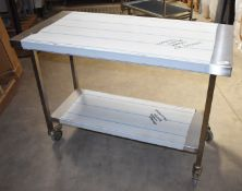1 x Grundy Mobile Stainless Steel Prep Table With Undershelf - SizeH85 x W120 x D60 cms- Ref JP145