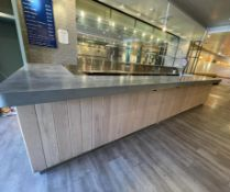 1 x Contemporary Restaurant Bar With Light Wood Panel Fascia, Sheet Metal Covered Bar Top,