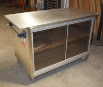 1 x Grundy Maid Mobile Food Warming Unit With Stainless Steel Top and Smoked Glass Doors - Ref JP142