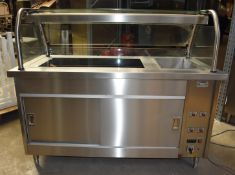 1 x Grundy Commercial Servery Unit With Ceran Hot Plate, Baine Marie, Overhead Warmer and Plate