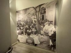 1 x Wall Mounted Picture Depicting an Early 20th Century Restaurant Steet Scene - Large Size
