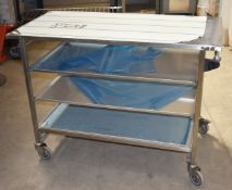 1 x Grundy Stainless Steel Prep Trolley With Pull Out Shelves, Push/Pull Handles and Castors -