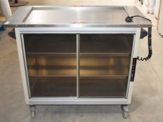 1 x Grundy Maid Mobile Food Warming Unit With Stainless Steel Heated Top and Smoked Glass Doors -