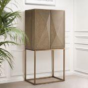 1 x EICHHOLTZ 'Delarenta' Cabinet In Washed Oak And Brass - Original RRP £3,289