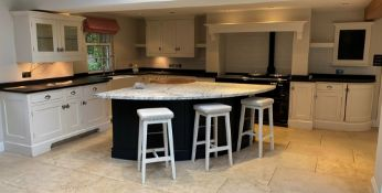 1 x Bespoke Jeremy Wood Fitted Kitchen Featuring Hand Painted Solid Wood Framed Doors, Semi Circle