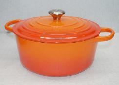 1 x Le Creuset Enamelled Cast Iron 28cm Casserole Dish In Volcanic Flame Orange - RRP £305.00