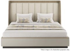 1 x FRATO 'Coen' Luxury Leather Upholstered Kingsize Bed With Majestic Headboard - RRP £12,340