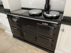 1 x AGA Range Cooker Finished in Black - Features Four Ovens and Two Hot Plates - Recently