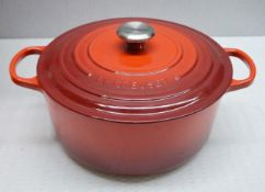 1 x Le Creuset Enamelled Cast Iron 28cm Casserole Dish In Cerise (Red) - Ref: HHW38/JUL21 - PAL/