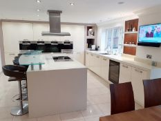 1 x ALNO Fitted Gloss White Kitchen With Integrated Miele Appliances, Silestone Worktops And A