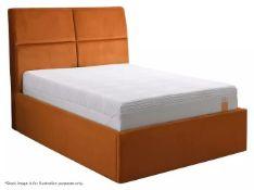 1 x TEMPUR Grafton Ottoman Double Bed Frame Upholstered In An Orange Velvet - Dimensions: 135x190cm