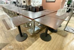25 x Square Canteen Tables With Metal Pedestal Bases and Wooden Tops - CL670 - Ref: GEM189A -