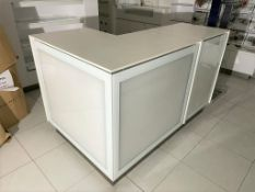 1 x L Shape Retail Counter in White With Advertising Light Boxes and Storage Cabinets With Cable