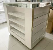 1 x Retail Four Sided Display Island With Shelves, Storage Drawers and Mirrored Panels - Size H150 x