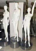 3 x Full Size Female Mannequins on Pedestal Plinth Stands - CL670 - Ref: GEM259 - Location: