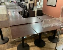 25 x Square Canteen Tables With Metal Pedestal Bases and Wooden Tops - CL670 - Ref: GEM189B -