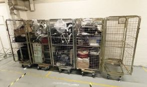 5 x Warehouse Roller Cages With Contents - Contents Include Various Electricals, Office Equipment,