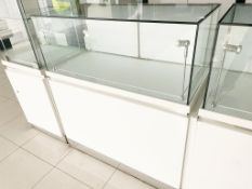 8 x Retail Glass Display Case Counter Cabinets - Features White Gloss Finish, Safety Glass, Internal