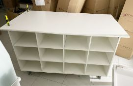 1 x Clothes Retail Table With Undershelves and Castor Wheels - Ideal For Jeans or Tshirts etc -