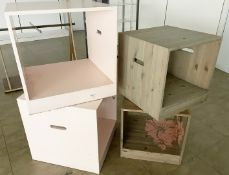 4 x Wooden Retail Display Cubes With Handles - Size H60/50 x W60/50 cms - CL670 - Ref: GEM200 -