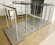 6 x Freestanding Retail Display Clothes Rails - 5 Include Glass Shelf Tops - Size H90 x W150 cms -