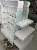 1 x Retail Display Island With Glass Shelves, Illuminated Light Boxes, Mirrors, Storage Drawer and