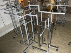 10 x Retail Display Clothes Rails Stands With Four Stepped Arm Rails - CL670 - Ref: GEM247A -