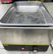 1 x Buffalo S007 Countertop Bain Marie With Stainless Steel Exterior and Gastro Pan - 240v-CL667 -