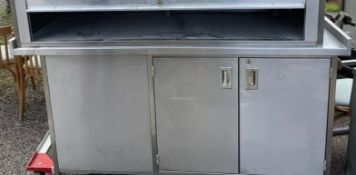 1 x Stainless Steel Prep Bench With Under Cabinet With Upstand-CL667 - Location: Brighton, Sussex,