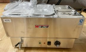 1 x Wibur Gastronorm Wet Well Bain Marie - 240v Power - Features Four Gastro Pans With Lids